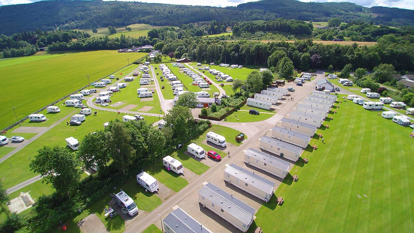 Fonab caravan park camping site Pitlochry just off the A9 route